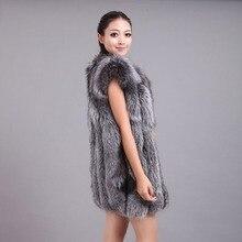 arlene sain  Real Fox Fur Vest for Women Jacket Thick Vertical Stripe  Waistcoat size xxs-6xl