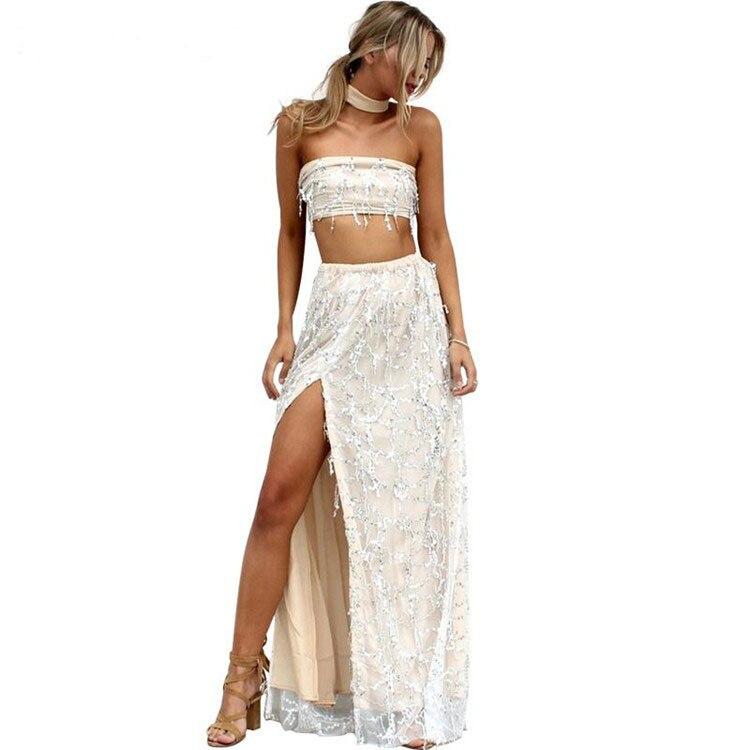 Off shoulder sequin tassel summer dress side split beach long dress Sexy  party maxi dress women vestidos 2 pieces dress DR412-in Dresses from Women s  ... 23d422221294