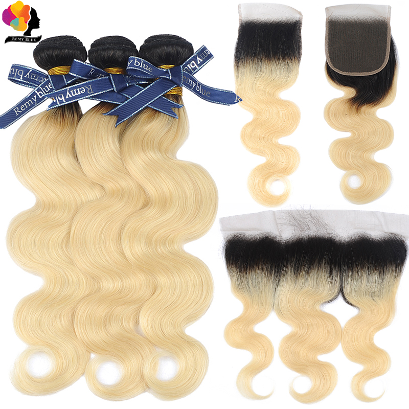 Remyblue T1B 613 Bundles with Frontal Ombre Blonde Peruvian Human Hair Body Wave Bundles with Closure