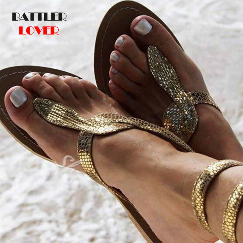 Snake Leather Shoes Ethnic Bohemian Summer Women Pompon Bandage Sandals Gladiator Roman Strappy Shoes Mujer Womens Flat Sandals