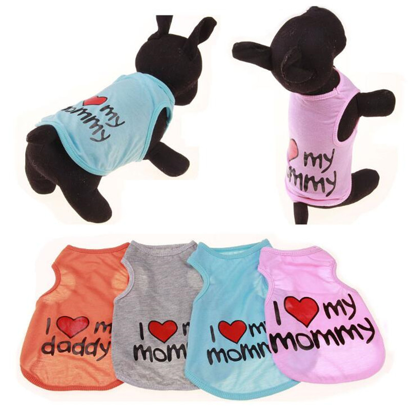 I Love My Mommy Pet Dog Cotton Shirt Summer Small Dog Cat Clothes Puppy Vest Shirts for Dogs Chihuahua Teddy Drop Shipping