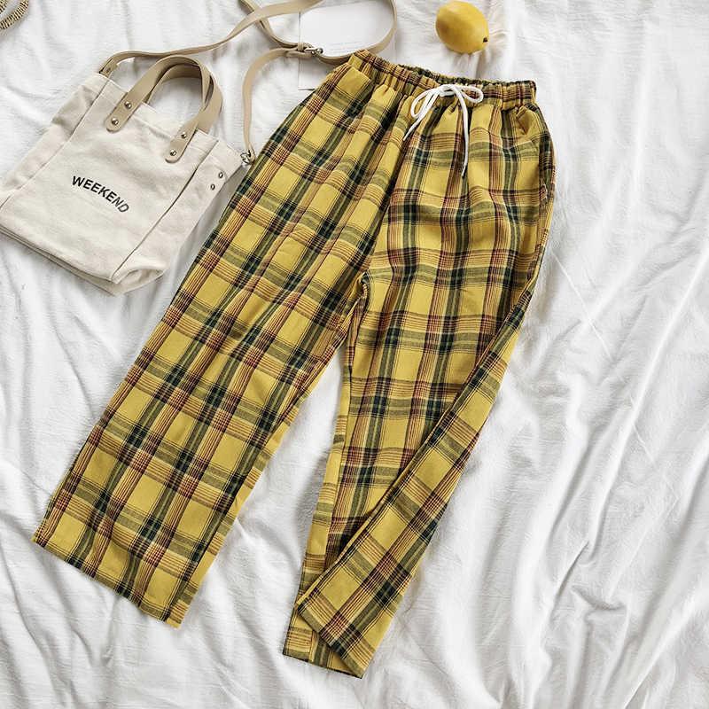 CamKemsey Vintage ลายสก๊อตสีเหลืองญี่ปุ่น Harajuku ฤดูร้อนกางเกงผู้หญิงลำลองสายรัดข้อเท้าความยาวหลวมขากว้างกางเกงผ้าฝ้าย