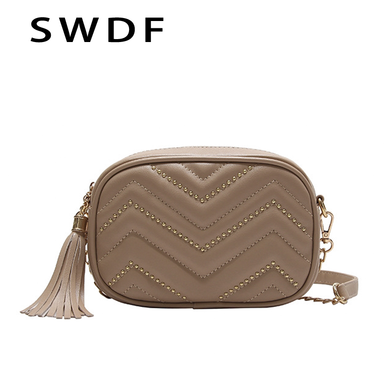 SWDF Flap For Women 2019 New Lady Leather Handbags Embroidery Thread Chain Shoulder Bags Korean Version Of PU Leather Ladies Bag