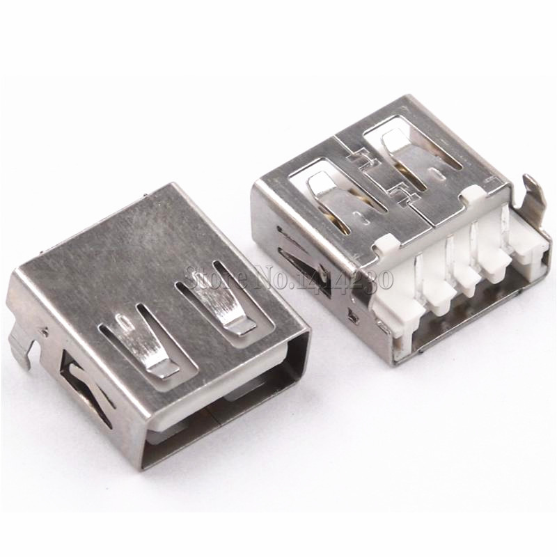 10Pcs USB Type A Standard Port Female Solder Jacks Connector PCB Socket USB-A Type 90 Degrees Rimless