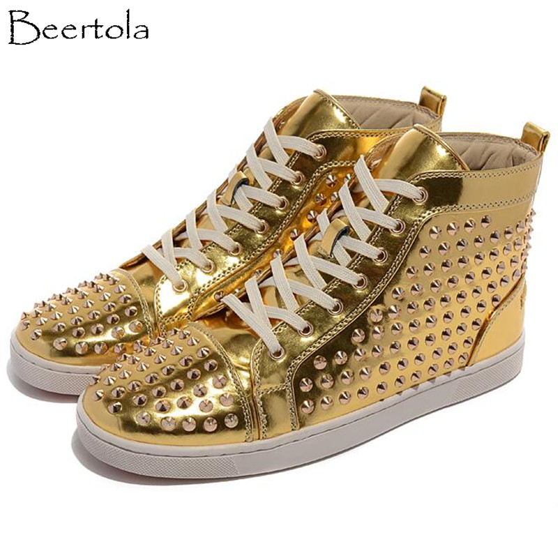 Clouté High Lacent Épais Loisirs Appartements Or Spikes Picture Rivets Bout Chaussures As Beertola Casual Rouge Rond Hommes Fond Unisexe Top cIYpy4qw