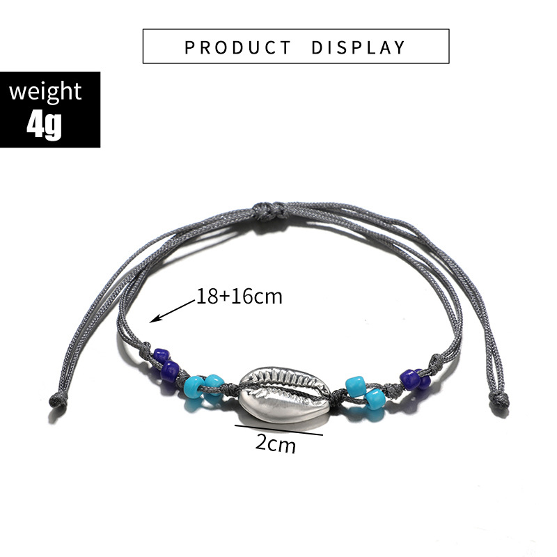 2019 Europe And America New Jewelry Fashion Simple Gray Wire Rope Beads Alloy Shell Anklet Boot For Women Accessories Wholesale 3