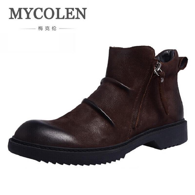 MYCOLEN Men Shoes Ankle Basic Luxury Genuine Leather Winter Zipper Boots Rubber Men Flat Sneaker Black Shoes Botas Tacticas
