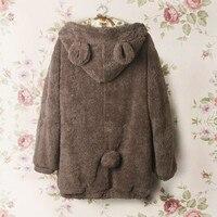 Animal hoodie met oren vrouwen dames meisjes leuke kawaii pluche beer rits hooded kleding winter warm zip-up hoodies, nwy380