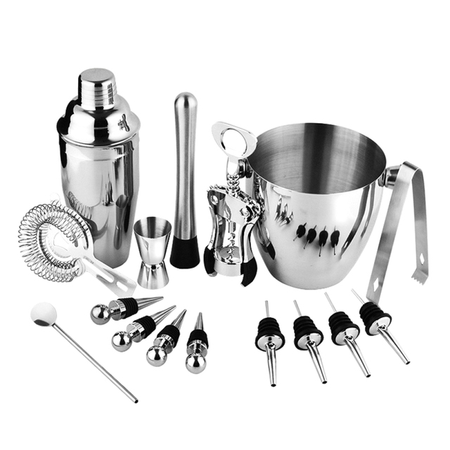 16pcs Set Stainless Steel Tail Shaker Mixer Drink Bartender Browser Kit Bars Tools Professional