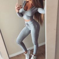 2 Piece Set Women Suit Outfit Two Piece Set Crop Top Legging Sweatpants Set Crop Hoodie