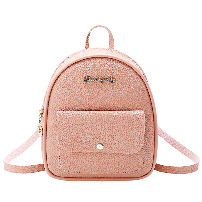 School Backpack Mini Backpack Women PU Leather Shoulder Bag For Teenage Girls Kids Multi-Function Small Bagpack Female Ladies