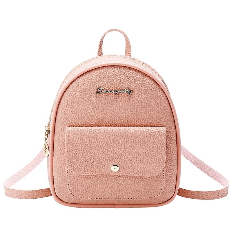 School Backpack Mini Backpack Women PU Leather Shoulder Bag For Teenage Girls Kids Multi-Function Small Bagpack Female Ladies