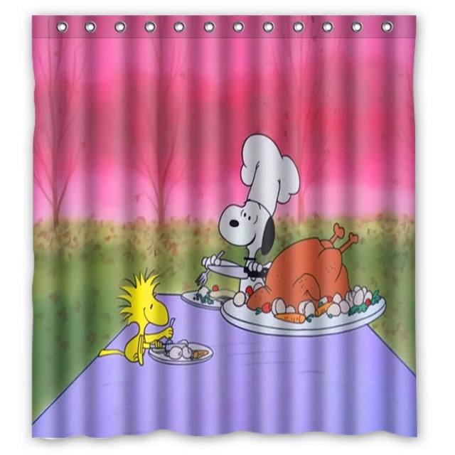 Vixm Cartoon Shower Curtains Peanuts Thanksgiving Fabric Bathroom 66x72 Inch
