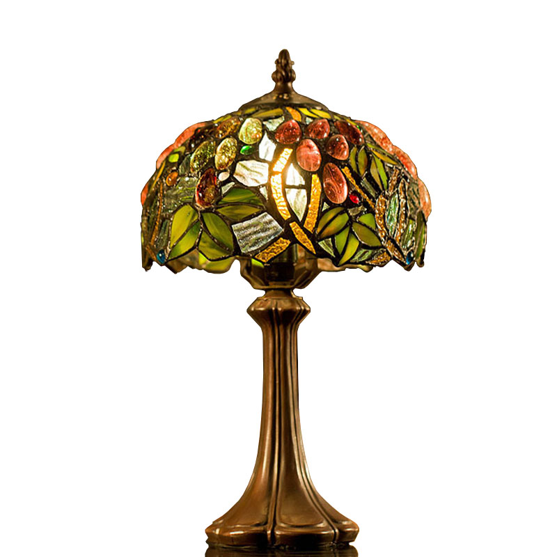 Beautiful 8 Inch Tiffany Table Lamps Luxurious Ancient Garden E27 Bedside Lamps  Living Room Decoration Bedroom Lamp