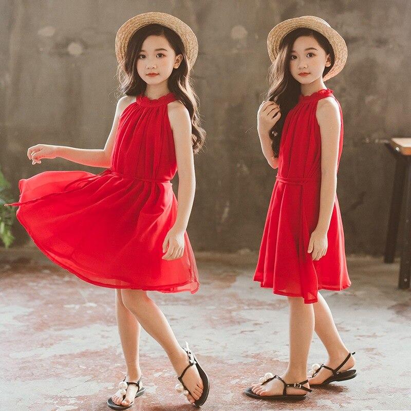 Robes en mousseline de soie rouge pour enfants pour filles robe d'été pour enfants