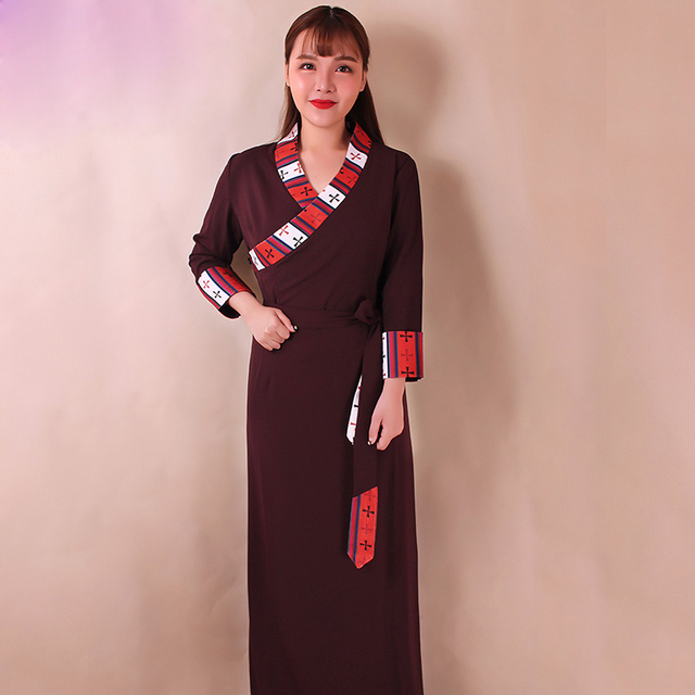 new style 2bdba b2152 US $84.54 7% di SCONTO|Primavera Autunno Tibet ragazza del cotone dei  vestiti Tibetano stile di Vita Costume Tibetano Guozhuang Bora Pulu del  merletto ...