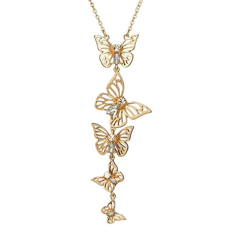 New Collection 2 Colors Crystal Environment Alloy Butterfly Pendant Necklace Women Luxury Jewelry