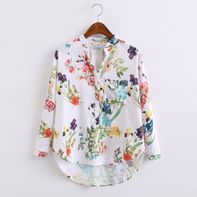European Style 2016 Summer New Arrival Women Fashion Casual Floral Print V-neck Shirt, Female Long Sleeves Tops Chiffon Blouse