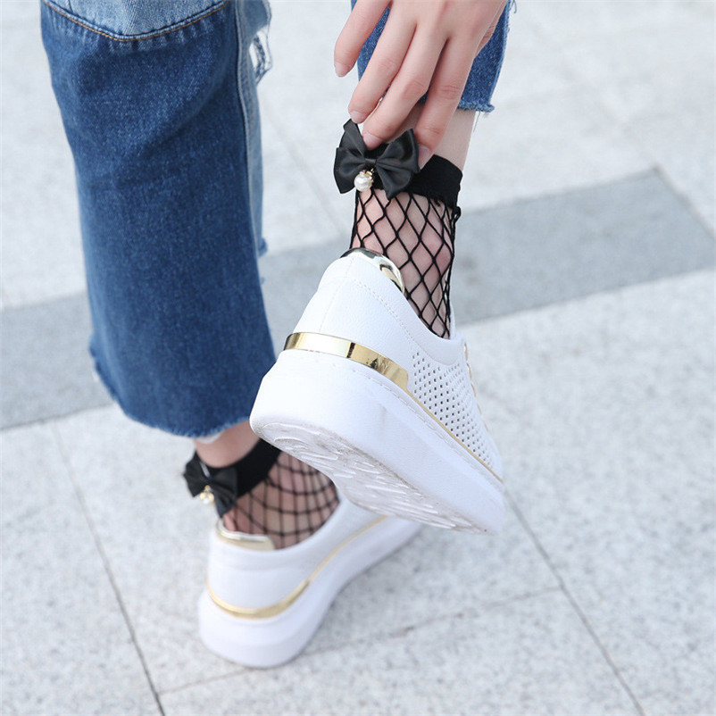 Solid Women Ruffle Fishnet Ankle High Socks Mesh Lace Fish Net Short Socks with Bow in Behind Two Color dropshipping 30AT3 05