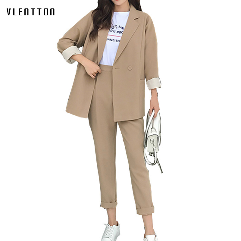 High Quality 2019 New Office Lady Long Two Piece Set Double Breasted Women's Suit Spring Autumn Casual Blazer Jacket & Pants