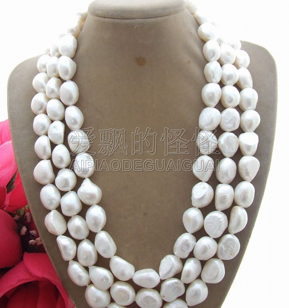 N081210 Natural 18 15MM White Baroque Pearl NecklaceN081210 Natural 18 15MM White Baroque Pearl Necklace