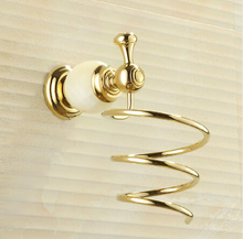 Free Shipping Fashion Jade Wall Hanging gold Hair Dryer Rack Brass Bathroom Hotel Hair-dryer Holder Bathroom Accessories