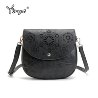 YBYT Brand 2017 New PU Leather Women Vintage Casual Hollow Out Satchel Cover Hasp Small Pack