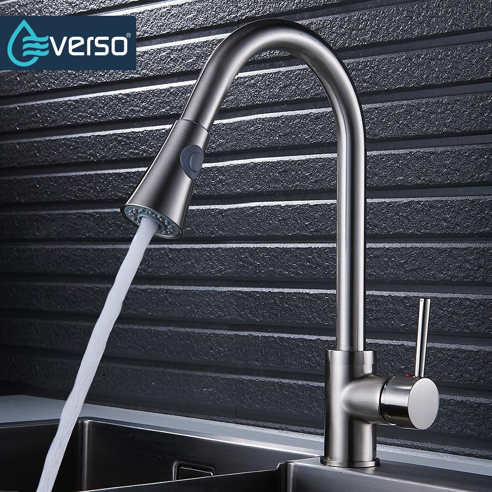 EVERSO Brushed Kitchen Faucets Silver Single Handle Pull Out Kitchen Tap Single Handle 360 Rotate Swivel Sink Mixer Tap newly arrived pull out kitchen faucet gold sink mixer tap 360 degree rotation torneira cozinha mixer taps kitchen tap