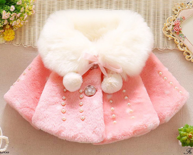Winter warm thick velvet jacket for baby girls coat princess jackets (9)