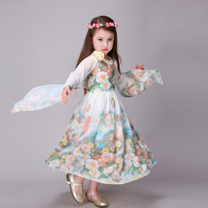 a886aaa43ab Brand Childrens wear girl dress teenage kids summer Cool floral dresses  Bohemian fashion chiffon beach dress for girls