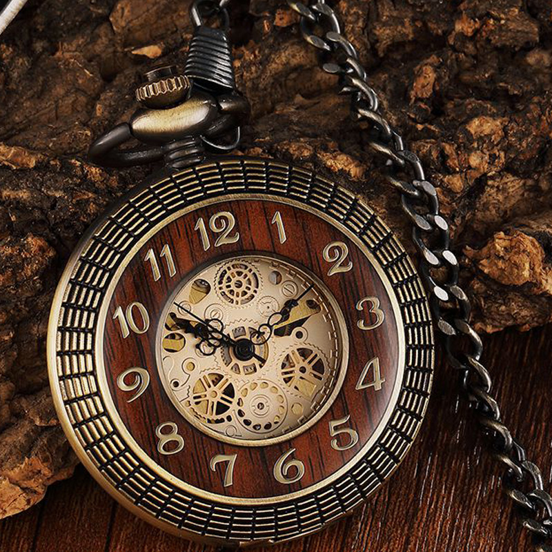 Wood Circle Case Mechanical Pocket Watch Hand-wind Antique Gold Skeleton Steampunk Fob Chain Men Clock Reloj de madera Bolsillo retro luxury gold smooth mechanical pocket watch fob chain roman dial hand wind steampunk hand wind pocket watch male clock gift