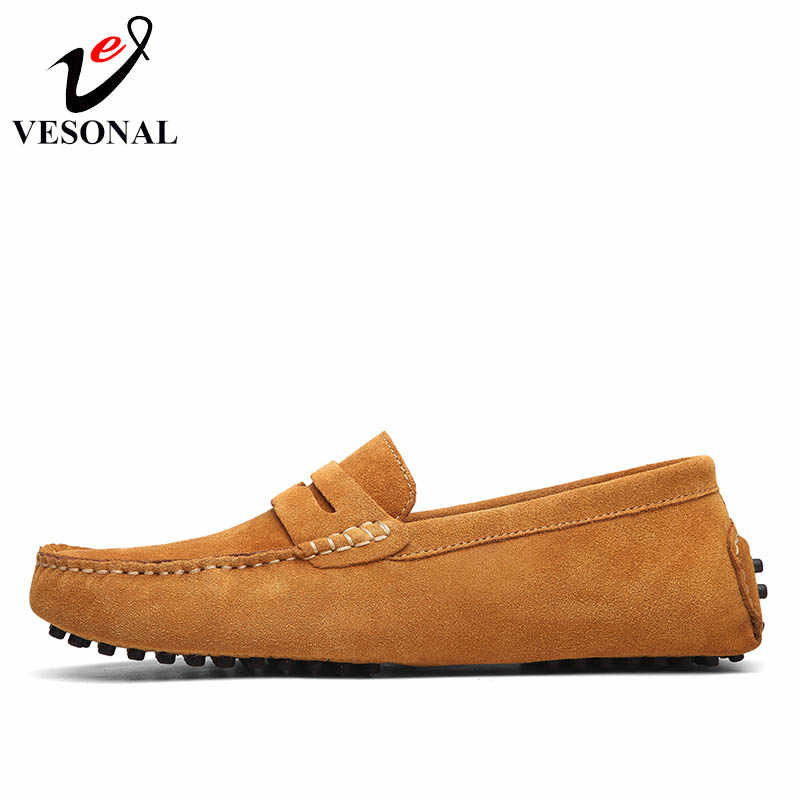 VESONAL bahar yaz nefes Moccasins erkek mokasen ayakkabıları ayakkabı erkek Flats hakiki deri Casual tekne yürüyüş sürücü ayakkabı 2018