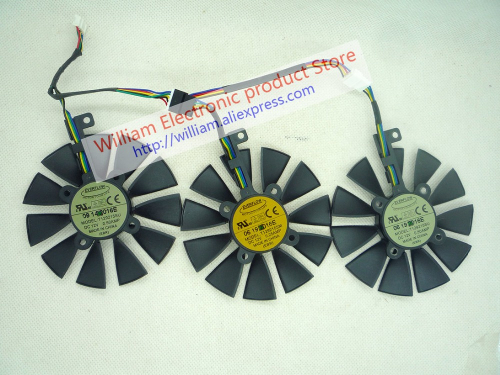 Original tarjetas gráficas ventilador para STRIX-RX480-O8G-GAMING GTX1060 1050TI GTX1070 T129215SU T129215SM fonsoning