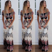 Boho Print Summer Women Sexy Strapless Two Piece Set Slash Neck Short Sleeve Cro