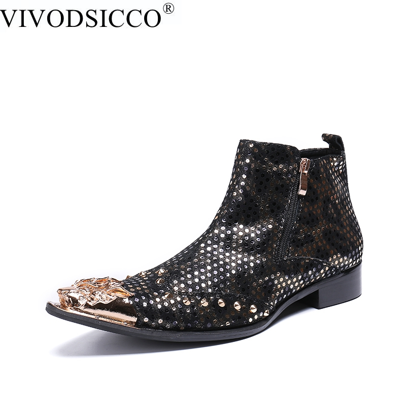 купить VIVODSICCO Fashion Luxury Men Boots Genuine Leather Ankle Boots Men Italian Business Dress Shoes Pointed Toe Rivets Cowboy Boots по цене 5711.79 рублей