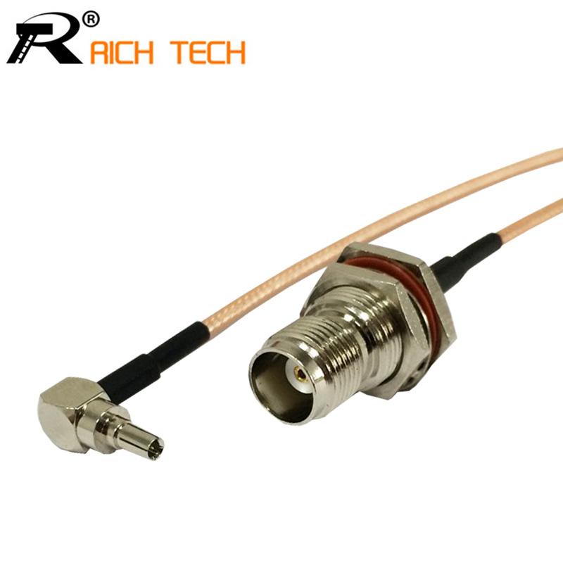 RF TNC To CRC9 Pigtail Cable TNC Female Bulkhead O-ring Connector To CRC9 Male Right Angle Connector RG316 Cable 15cm 6 high quality 10 pcs x bnc female nut bulkhead solder rf connector adapters