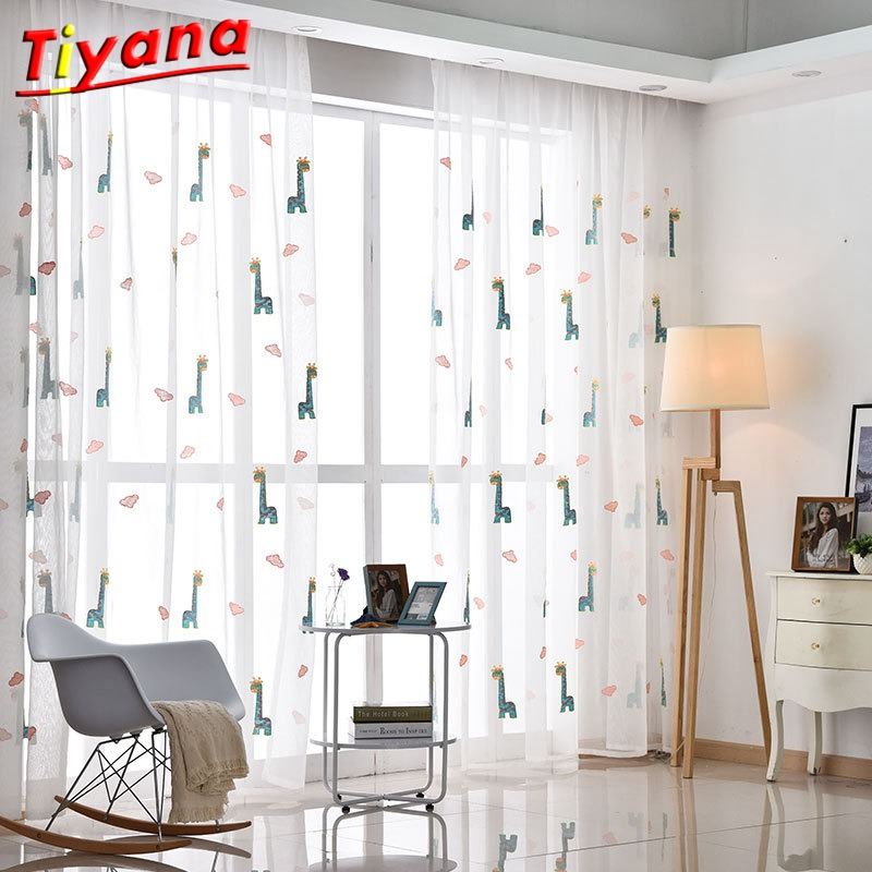 1 Panel White Sheer Curtain Colorful Giraffe Tulle Cloth Voile Tulle for kid Children Bedroom Window girl Boys Curtain WP154 *30