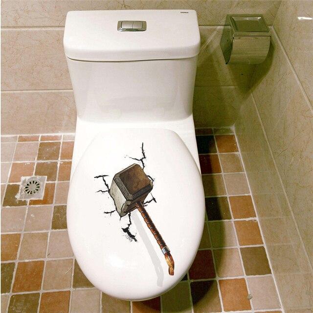 Marteau De Thor Mjolnir 3D Toilette Autocollants Décoration