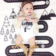 Cotton Newborn Baby Girl Boy Clothes Cartoon Bus Bodysuit Jumpsuit Playsuit Outfits