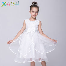 0f83d7760f399 EAZII infantile fille robe enfants fleur arc fête robes de mariée perles  Tulle sans manches robe d été enfants robe cérémonie Co.