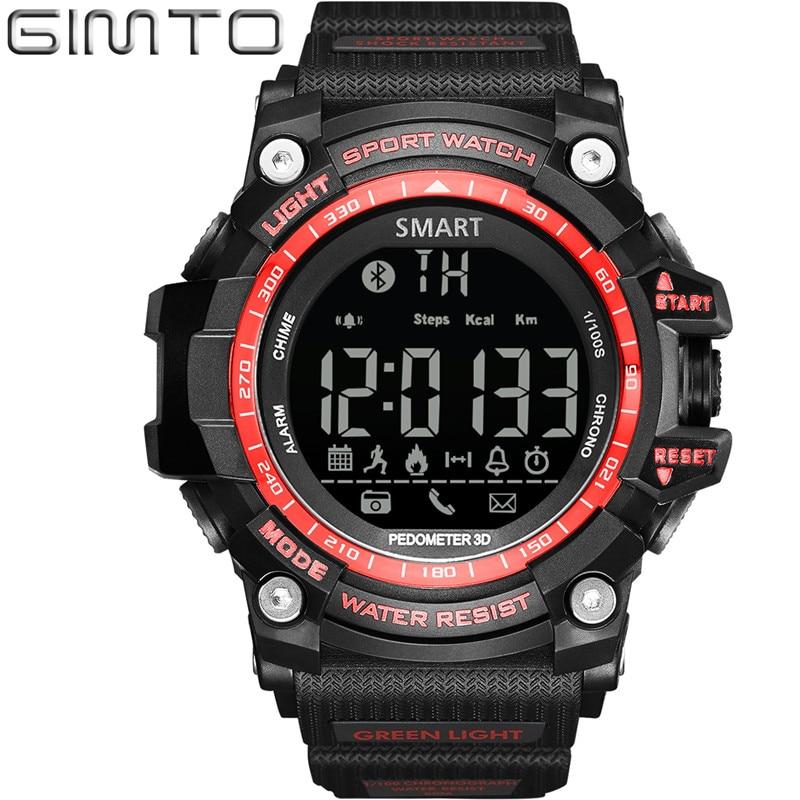 Gimto Men Smart Watch Pedometer Calories Chronograph Fashion LED Sport Watches Chronograph 50M Waterproof Digital Wristwatches