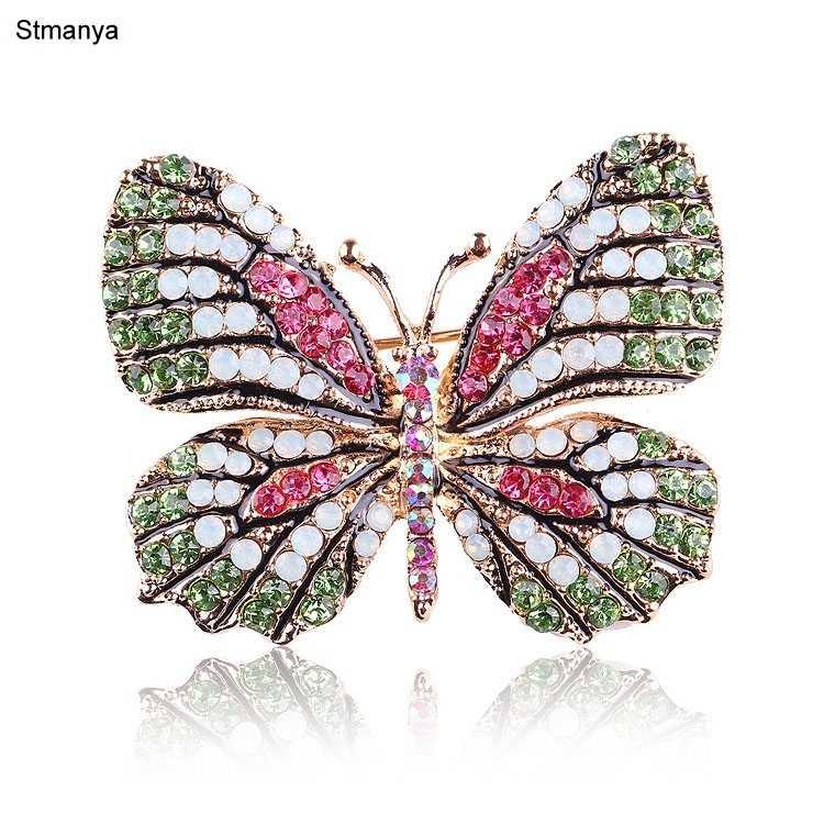 Moda de mujer colorido Diamante de imitación mariposa animal broche cristal boda ramillete capa chal bufanda hebilla alfileres H1068