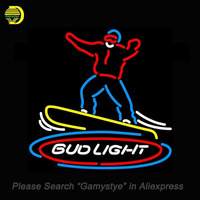 Bud Light Snowboarder Neon Sign Neon Bulb Sign Glass Tube Handcrafted Display Advertising Neon Lights Personalized