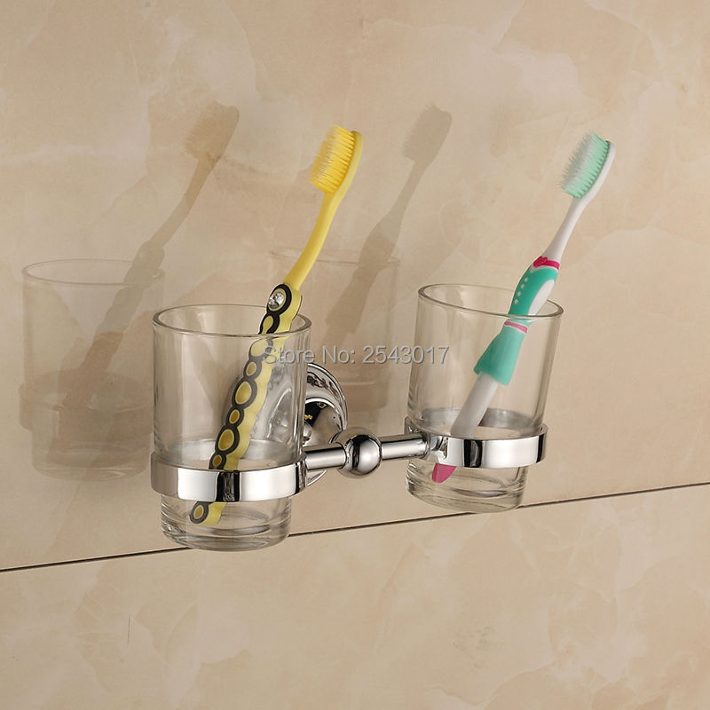 Bathroom Toothbrush Holder Chrome Polished Cup&Tumbler Holder Double Glass Cup Bathroom Accessories Wall Mounted ZR2666 silver polish cup holder modern double tumbler holder flower design cup toothbrush holder bathroom accessories