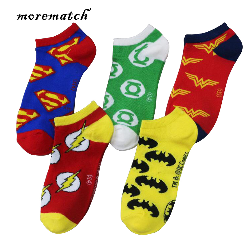 Morematch 1 Pair Men Ankle Socks Superman Batman Justice League Sign Pattern Superheroes Cotton Socks 5 Colors Optional