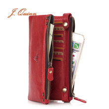 J.Quinn Womens Zipper Wallets 100% Genuine Cow Leather Ladies Purse Lady Coin Phone Red Long Wallet Female Clutch Bag Women Gift free shipping new fashion brand women s long wallets ladies money pack coins phone bag purse 100% genuine cow leather wholesale