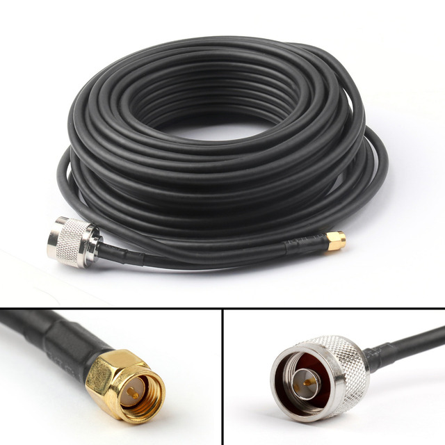 Areyourshop RG58 Cable 15M Male SMA to Male N-Type Jack Pigtail RG58 Cable Wireless Router 49Ft 50 ohm 1PCS High Quality Cable