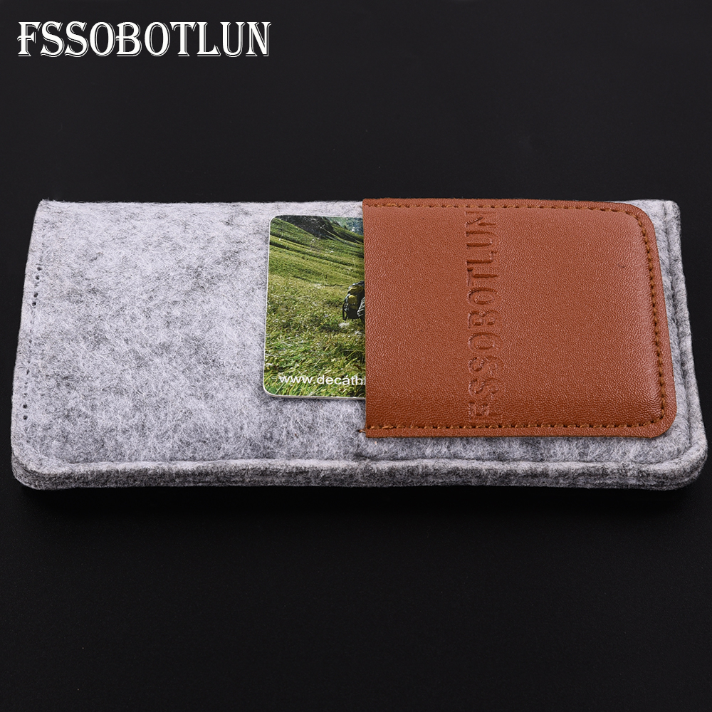 FSSOBOTLUN,6 Styles For XOLO Era 3 5.0 inch Case Protector Card Pocket Bag Handmade Wool Felt Pouch Phone Sleeve Bag