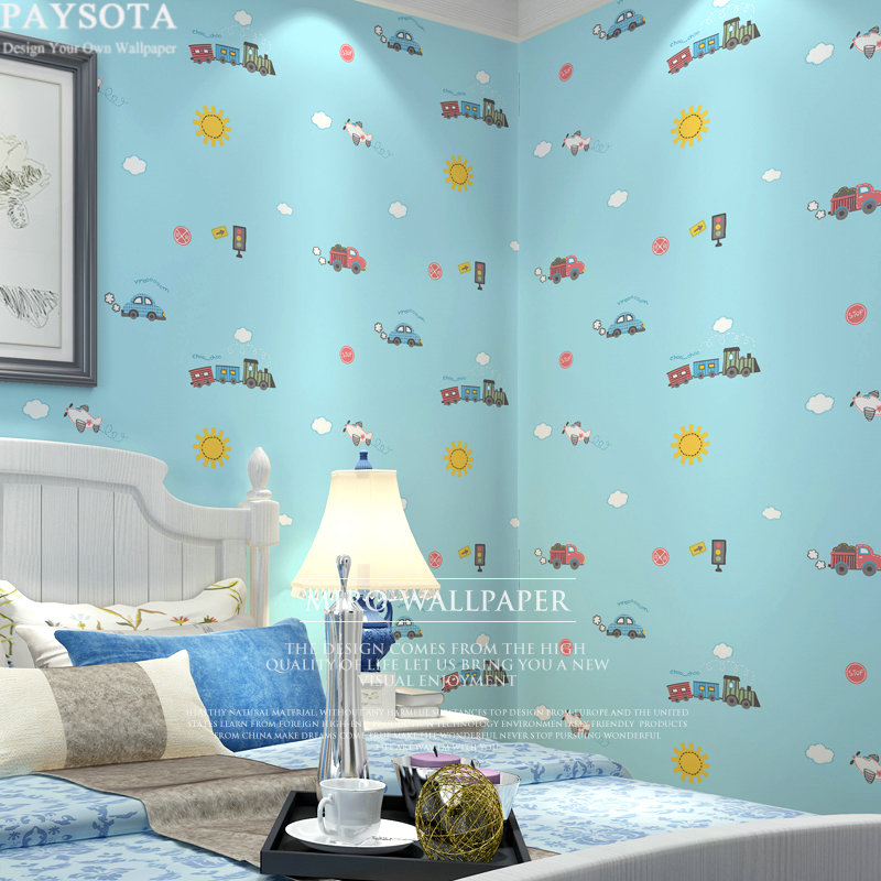 PAYSOTA Korean Style Children Room Cartoon Non-woven Wallpaper Boys Girls Bedroom Lovely Car Plane Blue Beige Yellow Wall Paper