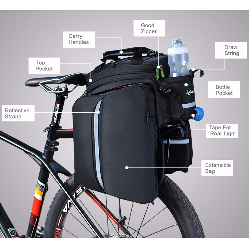 Roswheel 13l Bicycle Rear Rack Shelf Bag Pannier Pack Shoulder Handbag Volume Large Bicycle Accessories Bicycle Bags & Panniers